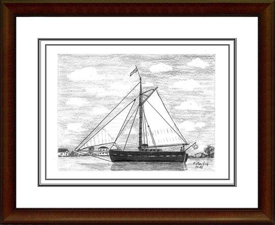 Traditionssegler auf der Elbe I Bleistiftzeichnung 20x15 cm