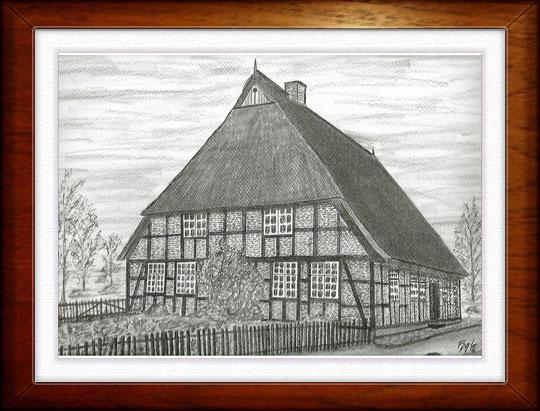 Bauernhaus V  Museumsdorf Molfsee  Bleistiftzeichnung 32 x24 cm
