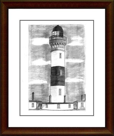 Leuchtturm Buchan Ness - Schottland   Bleistiftzeichnung   42 x 30 cm