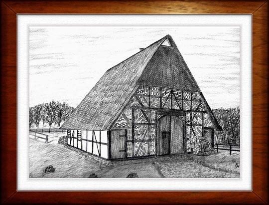 Bauernhaus III  Museumsdorf Molfsee  Bleistiftzeichnung 32 x24 cm