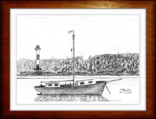 Vor Pagensand (Elbe)   Bleistiftzeichnung   30 x 24 cm