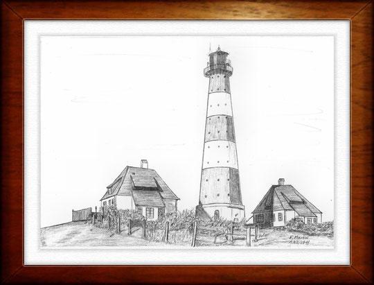 Leuchtturm Westerhever 1   Bleistiftzeichnung   42 x 30 cm