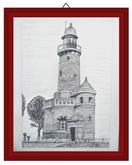 Leuchtturm Kiel Holtenau   Bleistiftzeichnung   42 x 30 cm