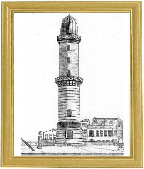Leuchtturm Warnemünde   Bleistiftzeichnung   42 x 30 cm
