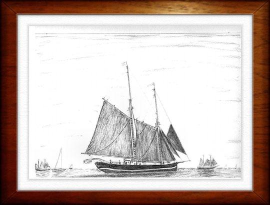 Kieler Woche   Bleistiftzeichnung   42 x 30 cm