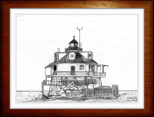 Leuchtturm Thomas Porn Shoal Lighthouse - Chesapeake Bay (USA)   Bleistiftzeichnung   42 x 30 cm