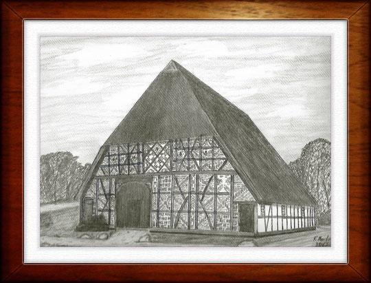 Bauernhaus I  Museumsdorf Molfsee  Bleistiftzeichnung 32 x24 cm