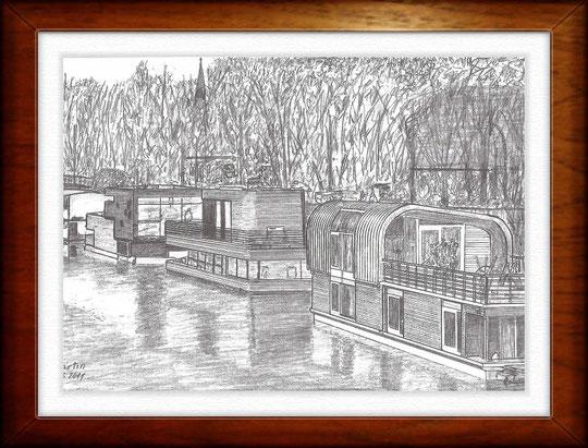 Hausboote am Eilbekkanal   Bleistiftzeichnung   42 x 30 cm