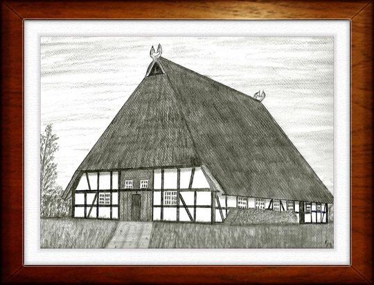 Bauernhaus IV  Museumsdorf Molfsee  Bleistiftzeichnung 32 x24 cm