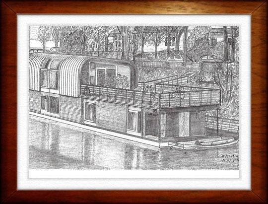 Hausboot am Eilbekkanal   Bleistiftzeichnung   42 x 30 cm