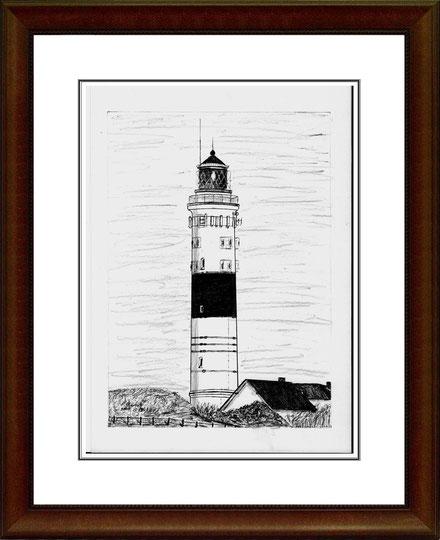 Leuchtturm Kampen/Sylt   Bleistiftzeichnung   42 x 30 cm