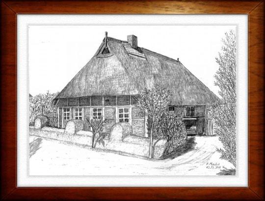 Freilichtmuseum Kiekeberg    Bleistiftzeichnung  42 x30 cm