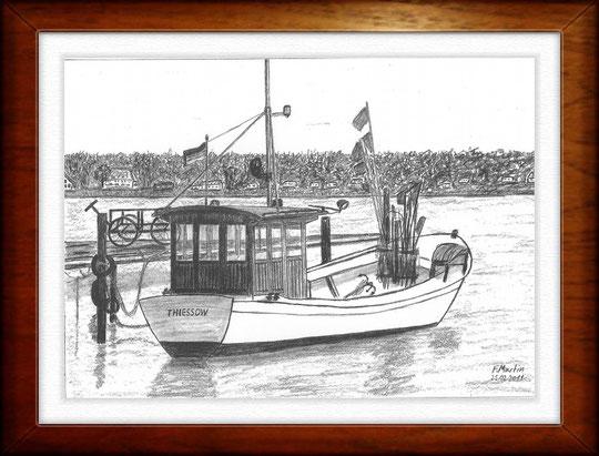 Hafen Klein Zicker   Bleistiftzeichnung   42 x 30 cm