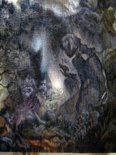 """Попова Ольга. Гобелен """"...меня влечёт неведомая сила"""" 2017-18 фрагмент"""
