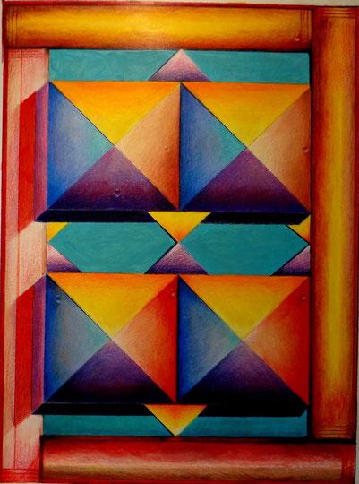 Geistfänger  5  Sanduhr  30x42 Pastell Buntstift 10.2013