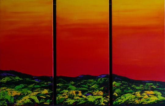 alain-belleguie-sunrise H/T Triptyque 120 cm x 80 cm