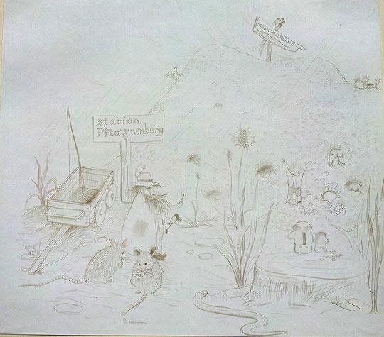 sich durch den Pflaumenberg essen um ins Schlaraffenland zu kommen
