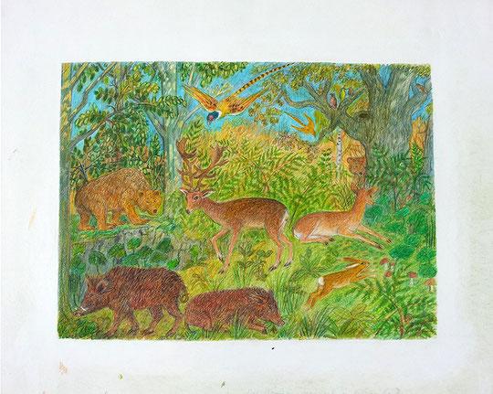 Tiere im Wald des französischen Königs