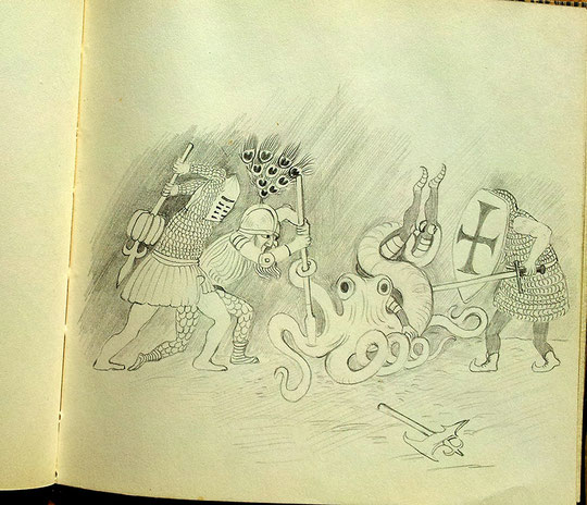 Ritter kämpfen gegen Krake