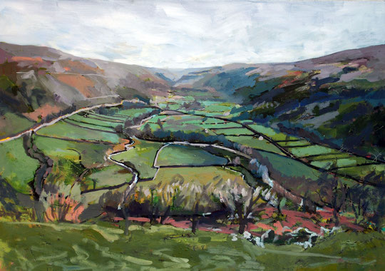 Back down Wharfedale, Oil on canvas 55 x 80cm