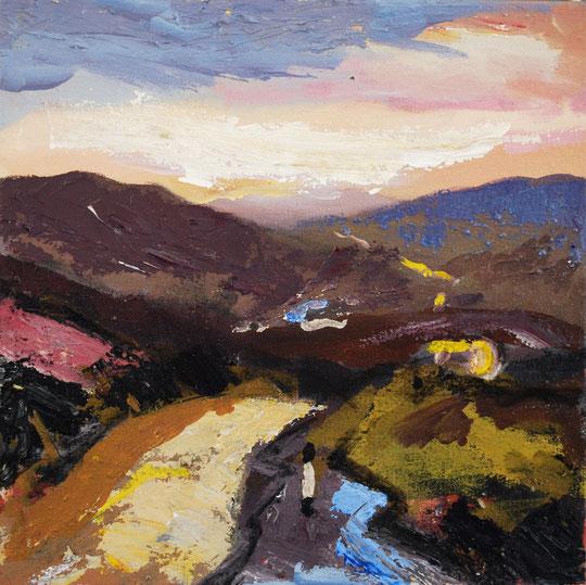Cote de Grinton (After Reeth), Acrylic on canvas 25 x 25cm (SOLD)