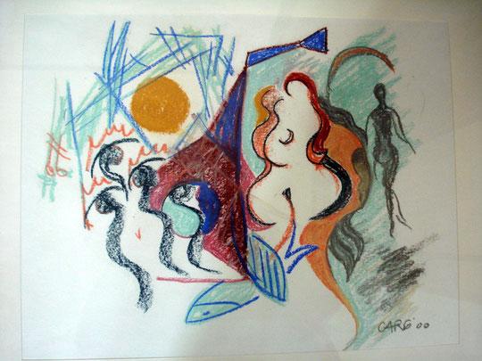 Composition Femme  56 x 76cm inkl. Rahmen  1280.- Euro           Pastellkreide