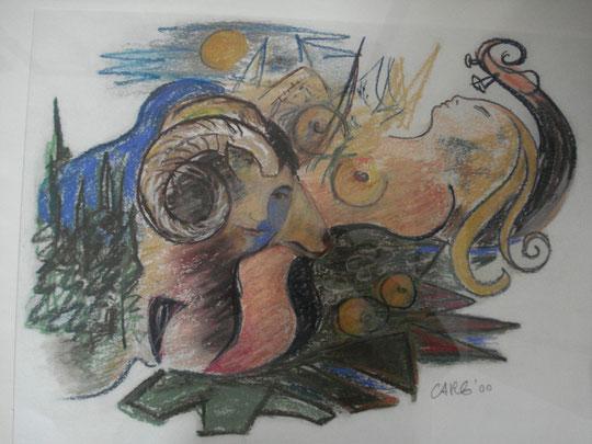 Hingabe       56 x 76        inkl. Rahmen                          1000.-Euro      Pastellkreide