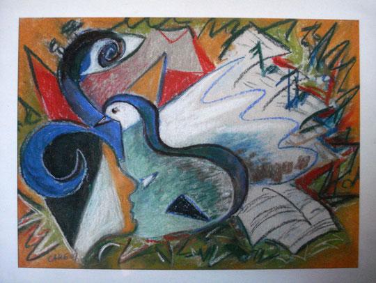 Composition         54x 45cm         inkl. Rahmen       900.- Euro          Pastellkreide
