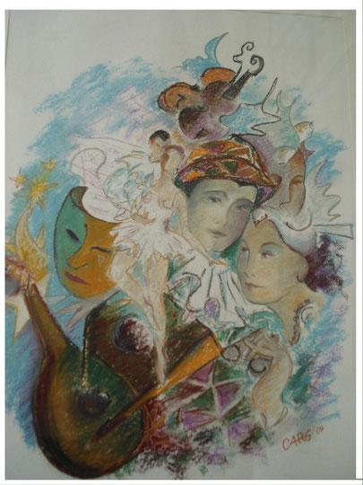 Harlekin und Tänzerin 62 x85    inkl. Rahmen                2000.- Euro     Pastellkreide