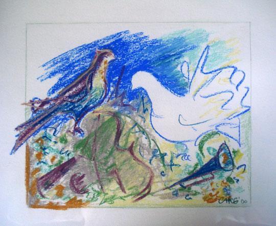 Composition bleu      45 x 41   inkl. Rahmen                   750.- Euro      Pastellkreide