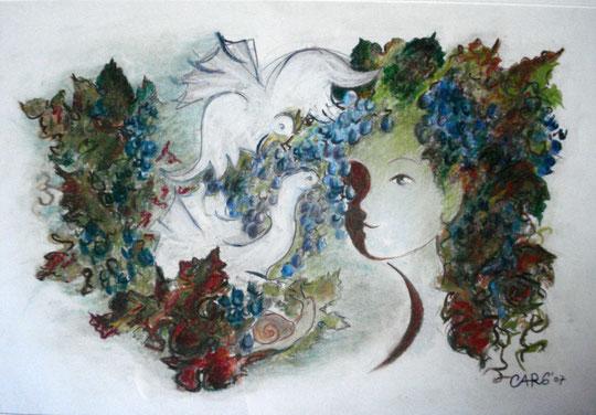 Vinum               45 x65 cm. inkl.Rahmen     1080.- Euro           Pastellkreide