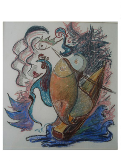 Composition poisson orange    56 x76cm    inkl. Rahmen   1280.- Euro  Pastellkreide
