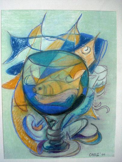 Fisch im Glass        56 x 76cm      inkl. Rahmen           1280.- Euro     Pastellkreide
