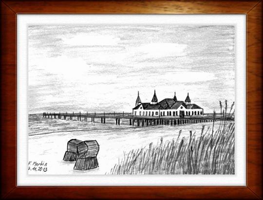 Seebrücke Ahlbeck    Bleistiftzeichnung   32 x24 cm