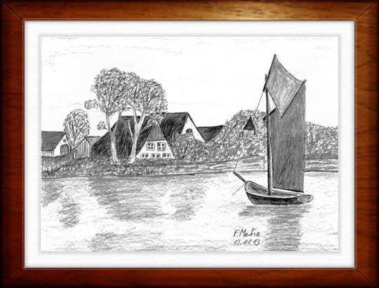 Boddenlandschaft      Bleistiftzeichnung   32 x24 cm