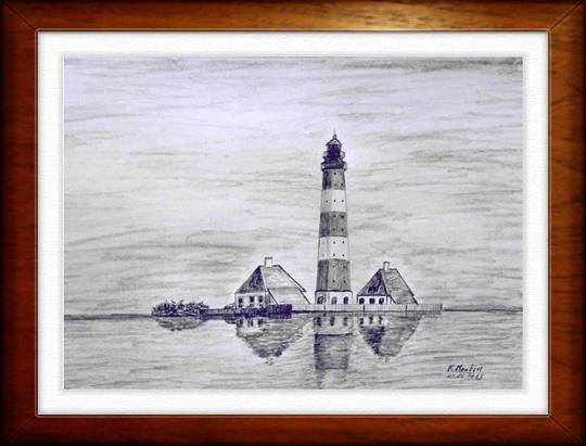 Leuchtturm Westerhever 2   Bleistiftzeichnung   42 x 30 cm