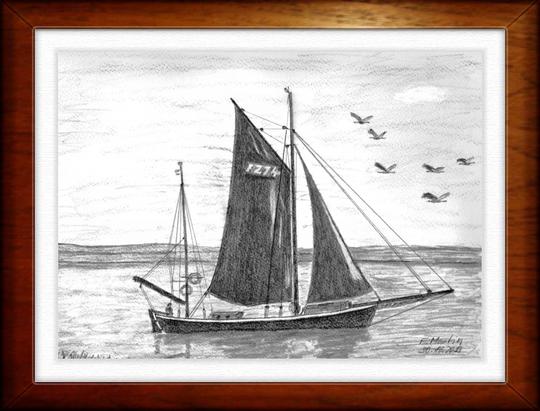 Zeesboot auf dem Bodden     Bleistiftzeichnung   32 x24 cm