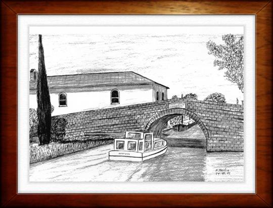 Brücke von La Somail am Canal duMidi   Bleistiftzeichnung   32 x24 cm
