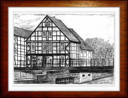 Am Elde-Müritz-Kanal in Grabow  Bleistiftzeichnung   32 x24 cm