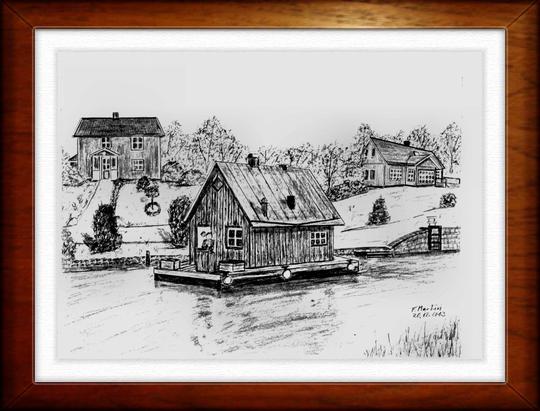 Hausboot auf dem Göta-Kanal   Bleistiftzeichnung   32 x24 cm