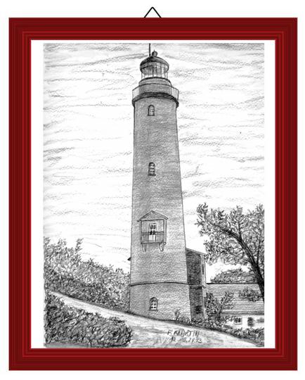Leuchtturm Darsser Ort   Bleistiftzeichnung  24 x 32 cm