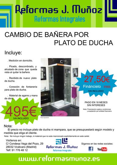 Oferta Cambio de Bañera por Plato (Reformas J. Muñoz)
