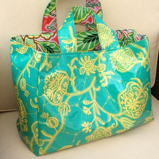 Tasche genäht aus Amy Butler LARK laminated fabric