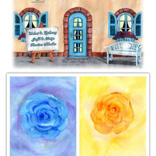 Gouachgemälde: 1. Atelier Galerie Natalie - 2. Rosenzauber: 2a. Rosentraum in blau - 2b. Rose des Lichts