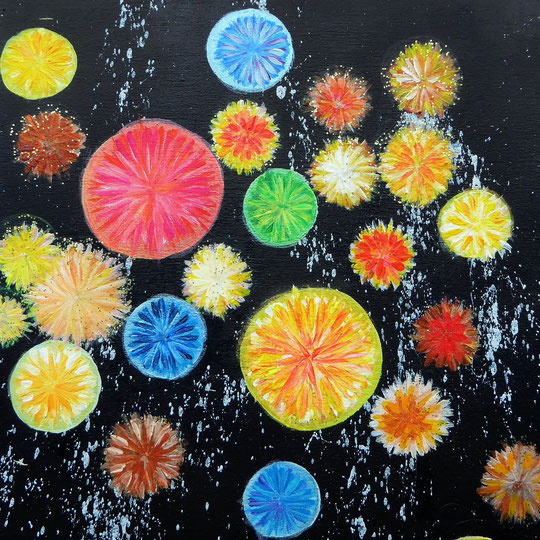 Crystals and Flowers, Acryl auf Holz, Casani, 20x20x3cm, 100€
