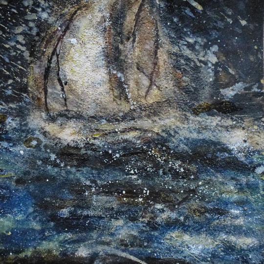 Schiff im Sturm, Naturfarben auf Graupappe/ Casanirahmen, 30x30cm, 110€