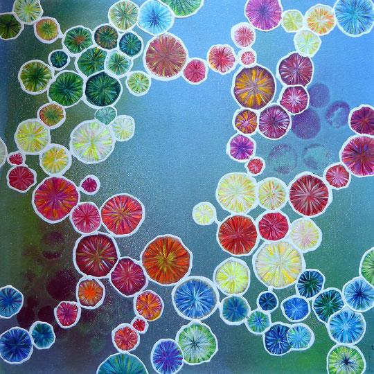 Kristallschönheiten, Acryl auf Leinwand, 50x50cm, 400€
