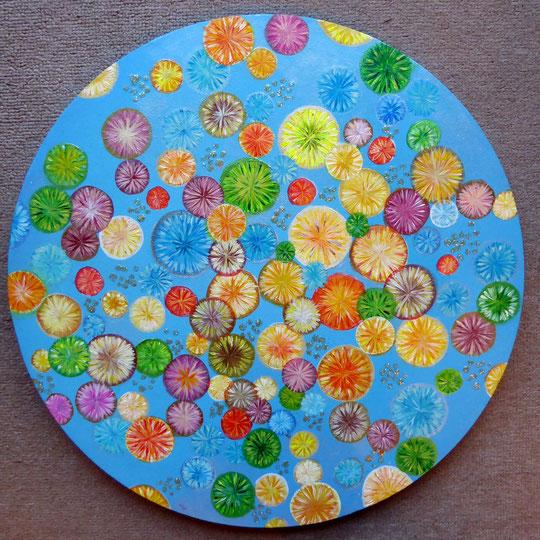 Crystalline Flowers, Acryl auf Leinwand, 40cm Durchmesser, 200€ (Bavarian Style)