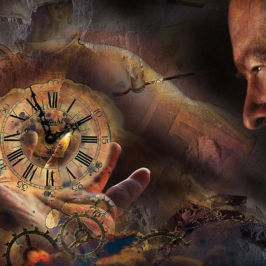 """""""das Gewicht der Zeit""""     2013, digitale Kombination aus Acrylwerk und Fotografie"""