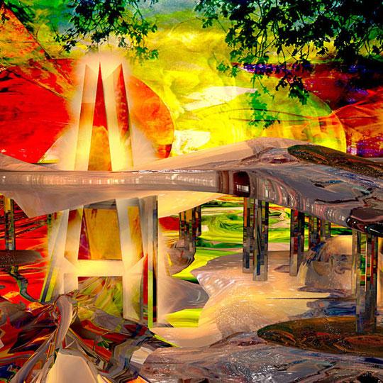 """""""Wege der Fantasie""""     2014     digitale Komposition aus Acrylwerk und 3D-Werk"""